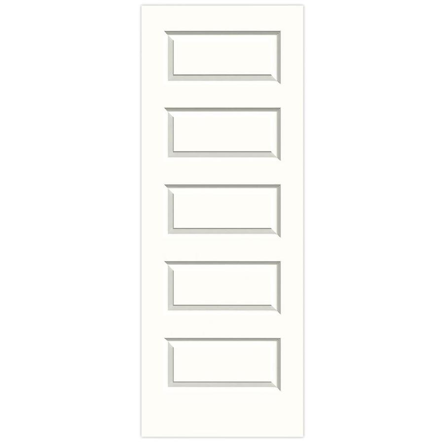 JELD-WEN Snow Storm Solid Core 5-Panel Equal Slab Interior Door (Common: 32-in x 80-in; Actual: 32-in x 80-in)