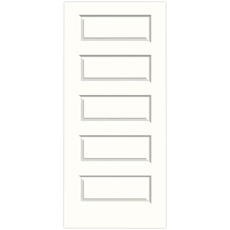 JELD-WEN Snow Storm Solid Core 5-Panel Equal Slab Interior Door (Common: 36-in x 80-in; Actual: 36-in x 80-in)