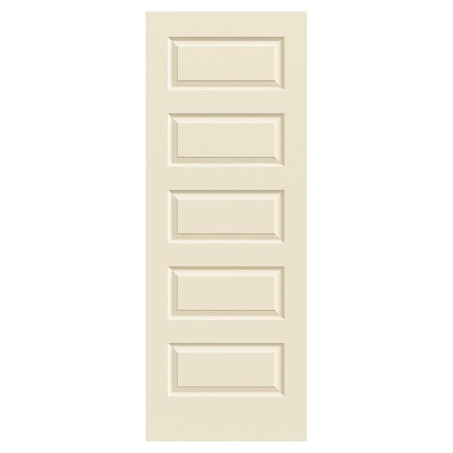 JELD-WEN Cream-N-Sugar Solid Core 5-Panel Equal Slab Interior Door (Common: 24-in x 80-in; Actual: 24-in x 80-in)