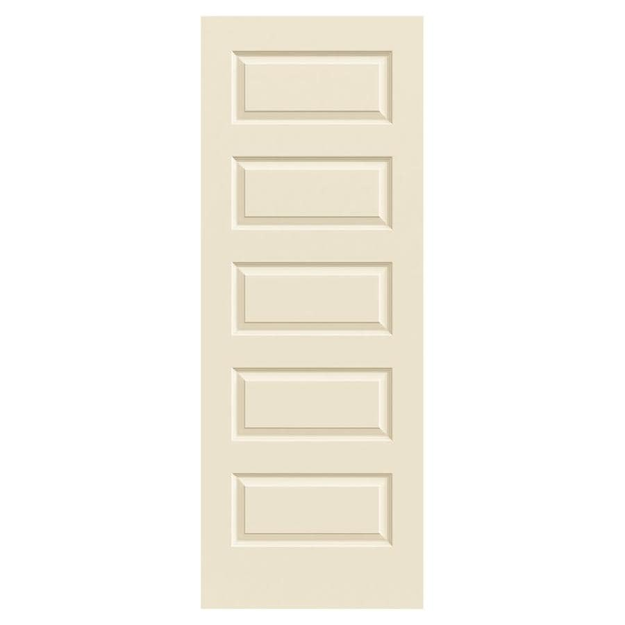 JELD-WEN Cream-N-Sugar Solid Core 5-Panel Equal Slab Interior Door (Common: 28-in x 80-in; Actual: 28-in x 80-in)