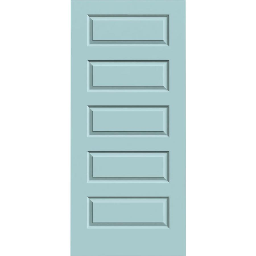 JELD-WEN Sea Mist Solid Core 5-Panel Equal Slab Interior Door (Common: 36-in x 80-in; Actual: 36-in x 80-in)