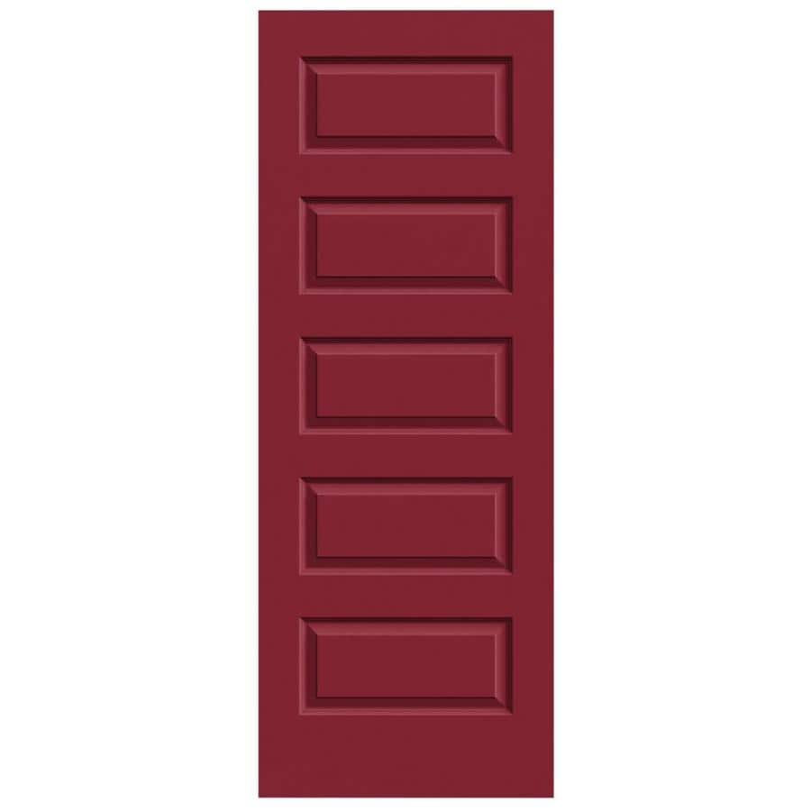 JELD-WEN Barn Red Solid Core 5-Panel Equal Slab Interior Door (Common: 24-in x 80-in; Actual: 24-in x 80-in)