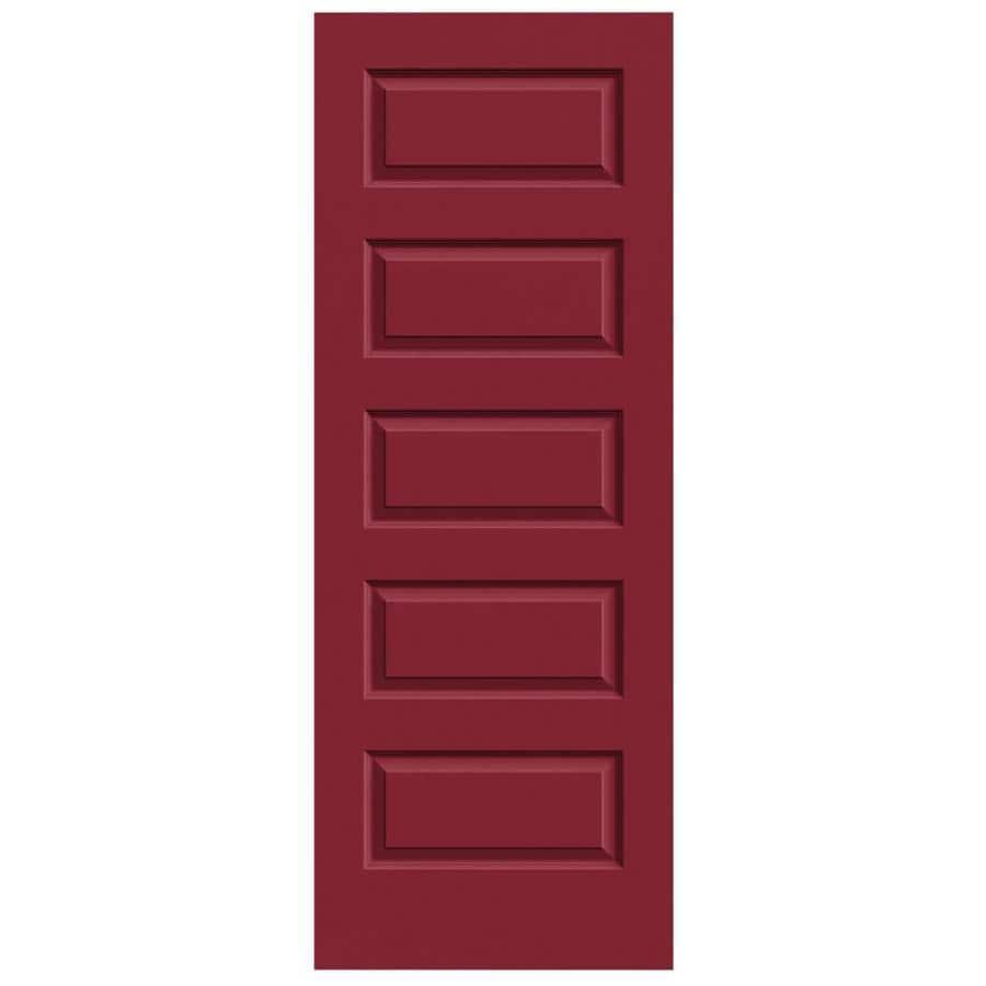 JELD-WEN Barn Red Solid Core 5-Panel Equal Slab Interior Door (Common: 32-in x 80-in; Actual: 32-in x 80-in)
