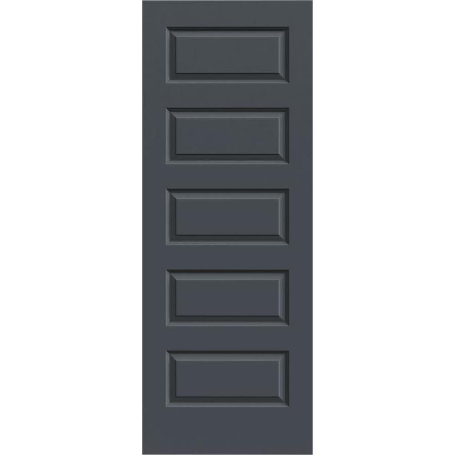 JELD-WEN Slate 5-panel Equal Slab Interior Door (Common: 32-in x 80-in; Actual: 32-in x 80-in)