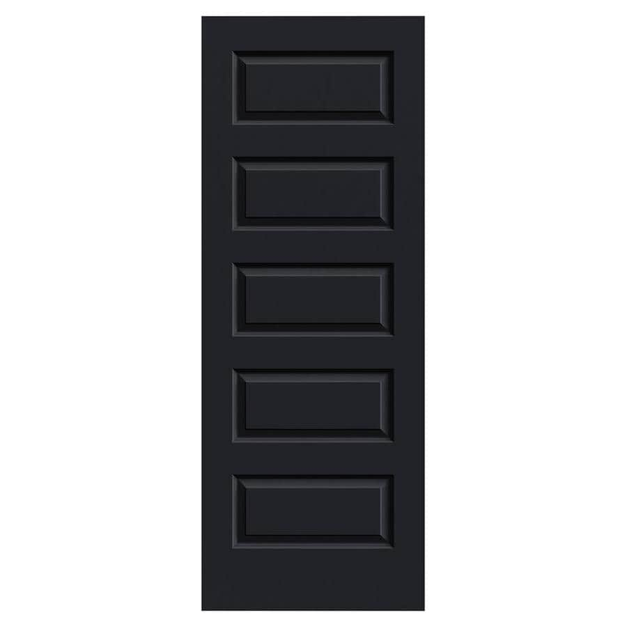 JELD-WEN Midnight Solid Core 5-Panel Equal Slab Interior Door (Common: 30-in x 80-in; Actual: 30-in x 80-in)