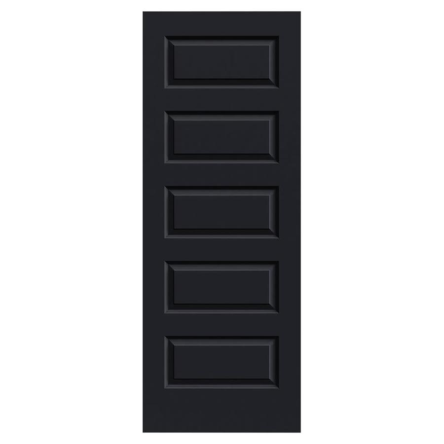 JELD-WEN Midnight Solid Core 5-Panel Equal Slab Interior Door (Common: 32-in x 80-in; Actual: 32-in x 80-in)