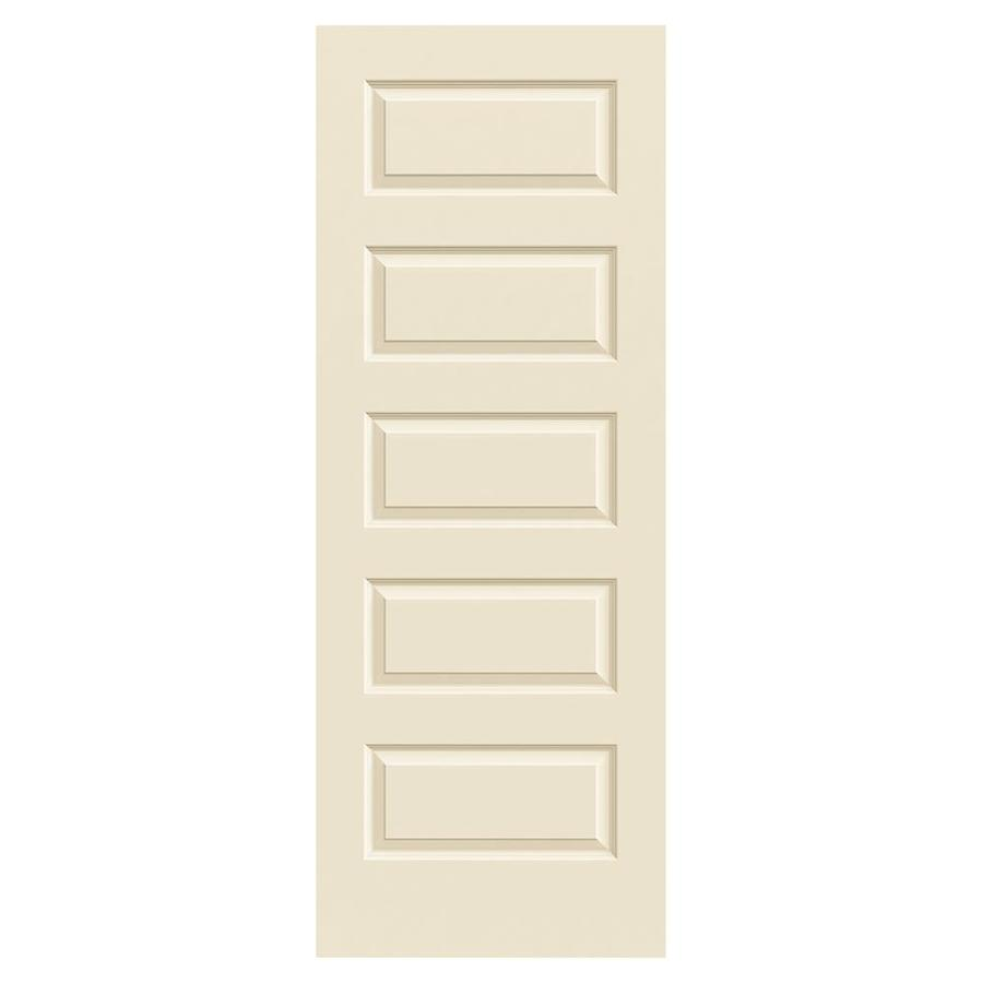 JELD-WEN Cream-N-Sugar Hollow Core 5-Panel Equal Slab Interior Door (Common: 32-in x 80-in; Actual: 32-in x 80-in)