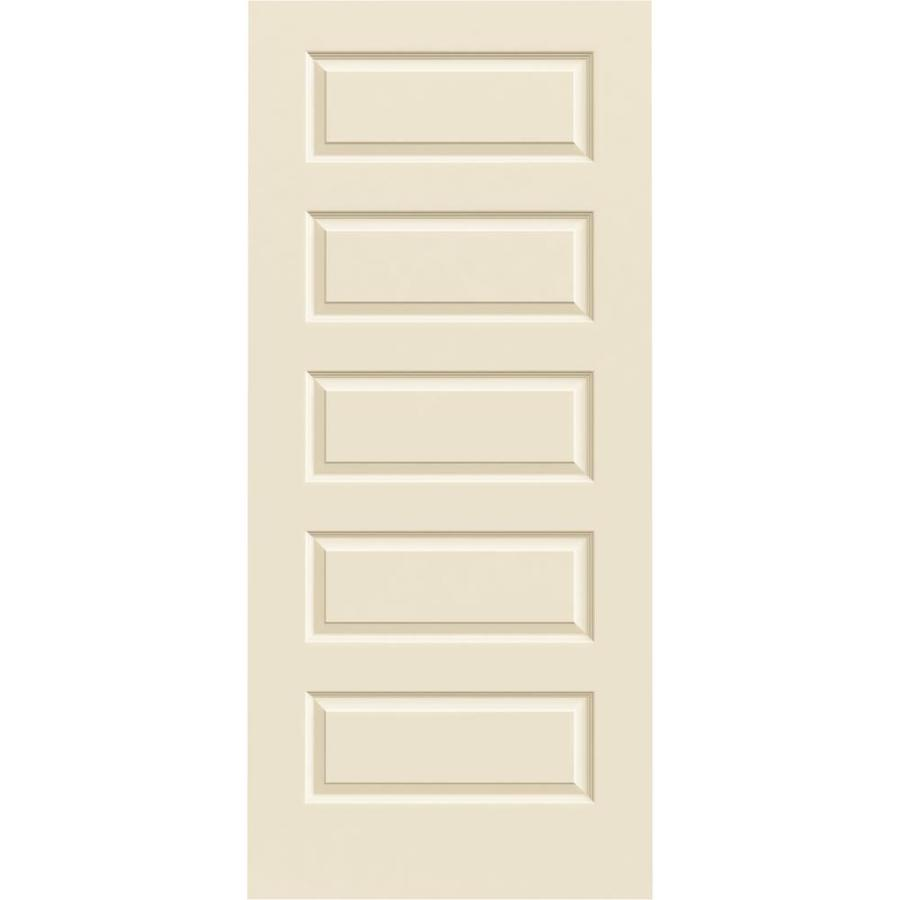 JELD-WEN Cream-N-Sugar Hollow Core 5-Panel Equal Slab Interior Door (Common: 36-in x 80-in; Actual: 36-in x 80-in)