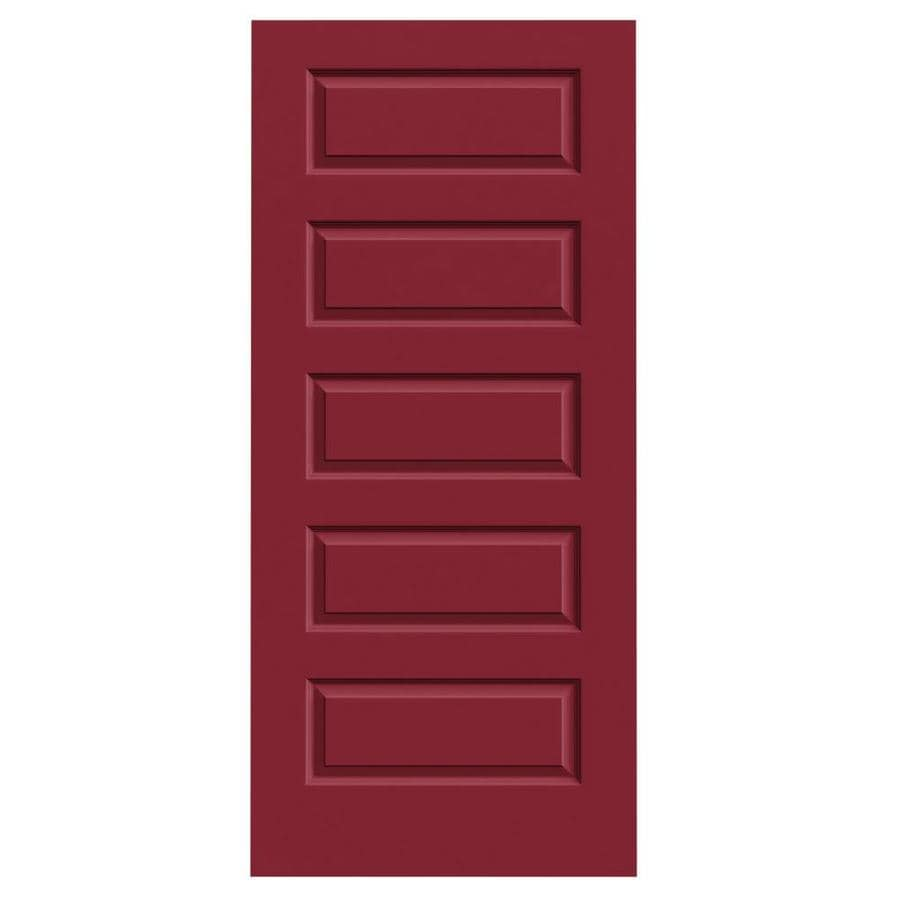 JELD-WEN Barn Red Hollow Core 5-Panel Equal Slab Interior Door (Common: 36-in x 80-in; Actual: 36-in x 80-in)