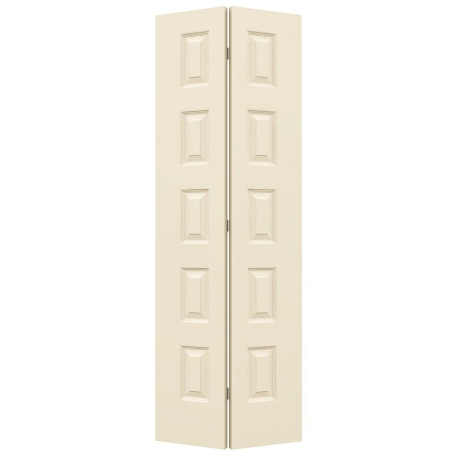 JELD-WEN Cream-N-Sugar Hollow Core 5-Panel Equal Bi-Fold Closet Interior Door (Common: 24-in x 80-in; Actual: 23.5-in x 79-in)