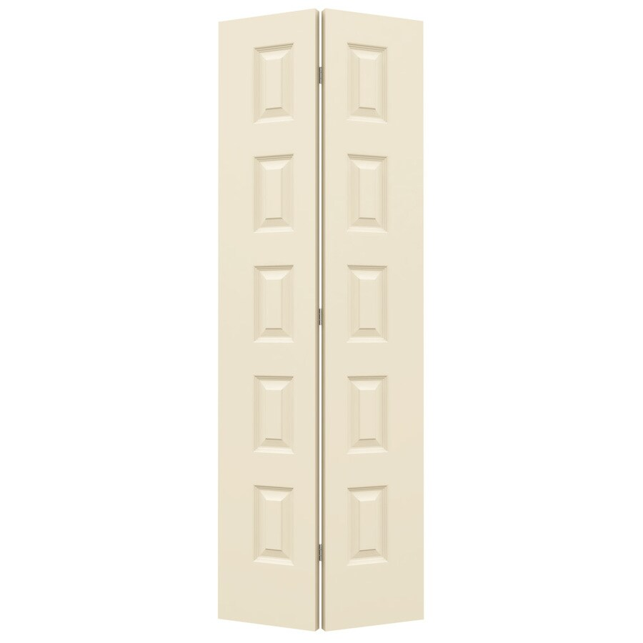JELD-WEN Rockport Cream-N-Sugar Hollow Core Molded Composite Bi-Fold Closet Interior Door with Hardware (Common: 28-in x 80-in; Actual: 27.5-in x 79-in)