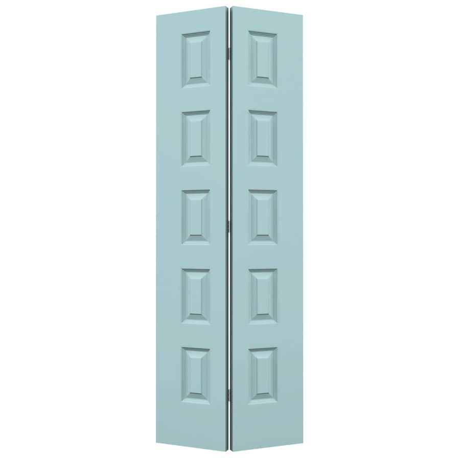 JELD-WEN Sea Mist Hollow Core 5-Panel Equal Bi-Fold Closet Interior Door (Common: 30-in x 80-in; Actual: 29.5-in x 79-in)