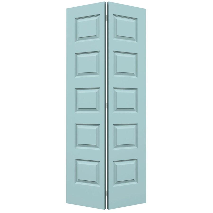 JELD-WEN Sea Mist Hollow Core 5-Panel Equal Bi-Fold Closet Interior Door (Common: 36-in x 80-in; Actual: 35.5-in x 79-in)