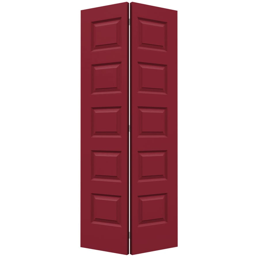 JELD-WEN Rockport Barn Red Hollow Core Molded Composite Bi-Fold Closet Interior Door with Hardware (Common: 36-in x 80-in; Actual: 35.5000-in x 79-in)