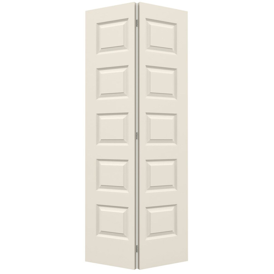 JELD-WEN Rockport Primed Hollow Core Molded Composite Bi-Fold Closet Interior Door with Hardware (Common: 36-in x 80-in; Actual: 35.5-in x 79-in)