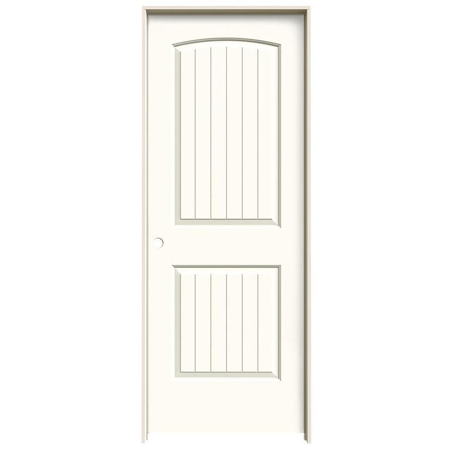 JELD-WEN Santa Fe White Prehung Hollow Core 2-Panel Round Top Plank Interior Door (Common: 28-in x 80-in; Actual: 29.562-in x 81.688-in)