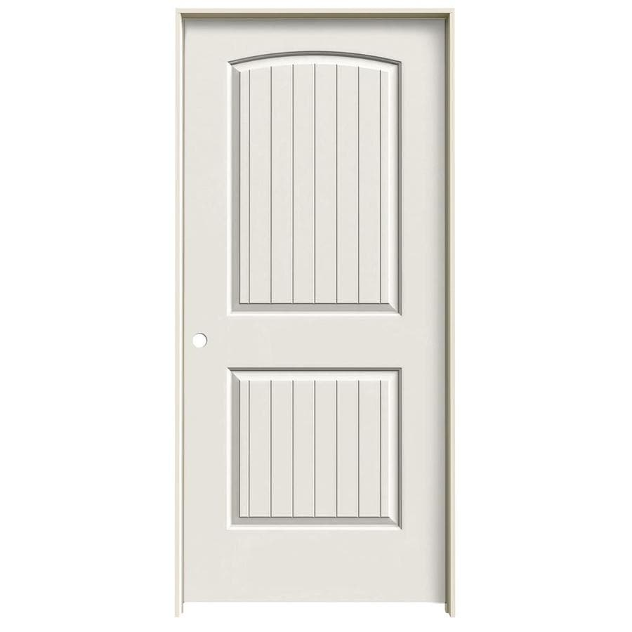 JELD-WEN Santa Fe White Prehung Hollow Core 2-Panel Round Top Plank Interior Door (Common: 36-in x 80-in; Actual: 37.562-in x 81.688-in)