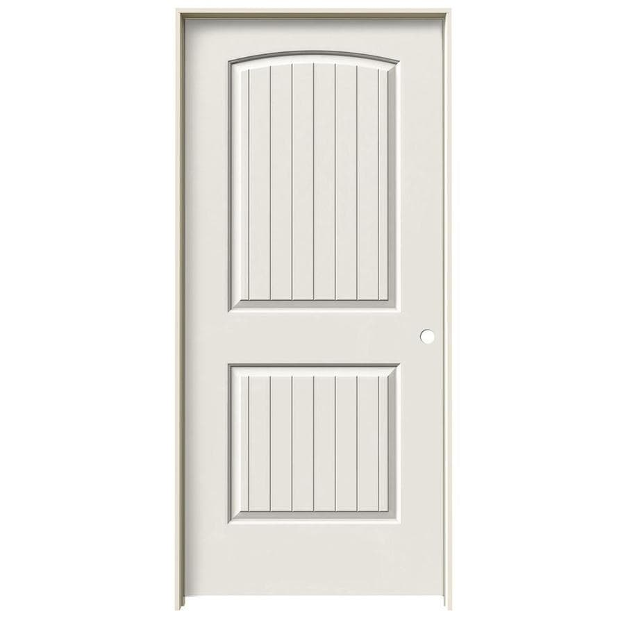 Shop jeld wen santa fe white 2 panel round top plank for Prehung interior doors