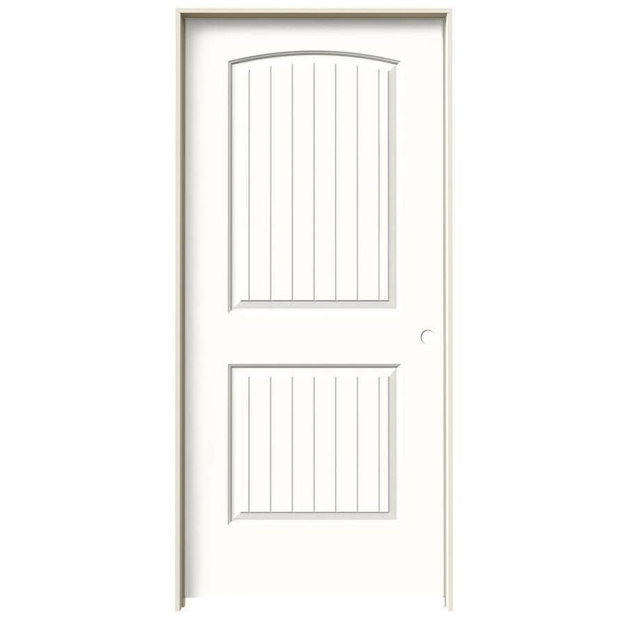 JELD-WEN Santa Fe Snow Storm 2-panel Round Top Plank Single Prehung Interior Door (Common: 36-in x 80-in; Actual: 37.562-in x 81.688-in)