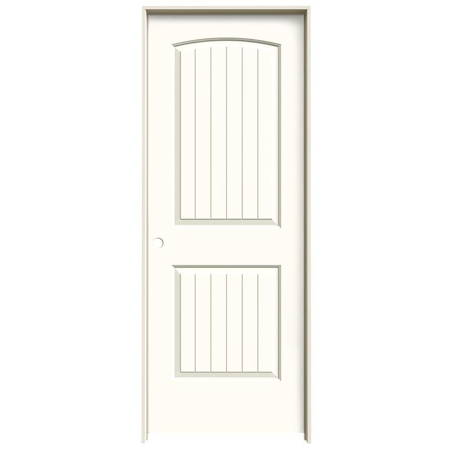JELD-WEN Santa Fe Moonglow Prehung Hollow Core 2-Panel Round Top Plank Interior Door (Common: 28-in x 80-in; Actual: 29.562-in x 81.688-in)
