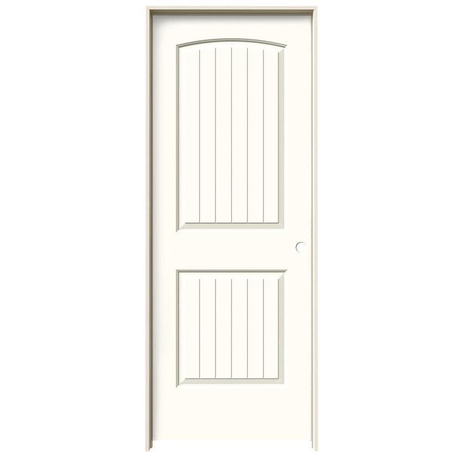 JELD-WEN Santa Fe Moonglow Prehung Hollow Core 2-Panel Round Top Plank Interior Door (Common: 30-in x 80-in; Actual: 31.562-in x 81.688-in)