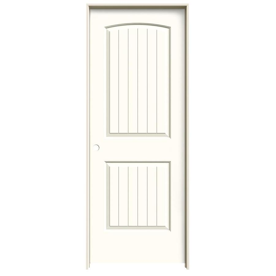 JELD-WEN Moonglow Prehung Hollow Core 2-Panel Round Top Plank Interior Door (Common: 32-in x 80-in; Actual: 33.562-in x 81.688-in)
