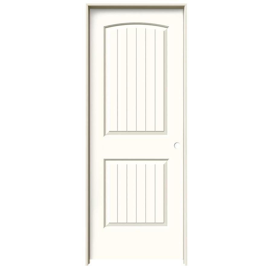 JELD-WEN Santa Fe Moonglow Prehung Hollow Core 2-Panel Round Top Plank Interior Door (Common: 32-in x 80-in; Actual: 33.562-in x 81.688-in)