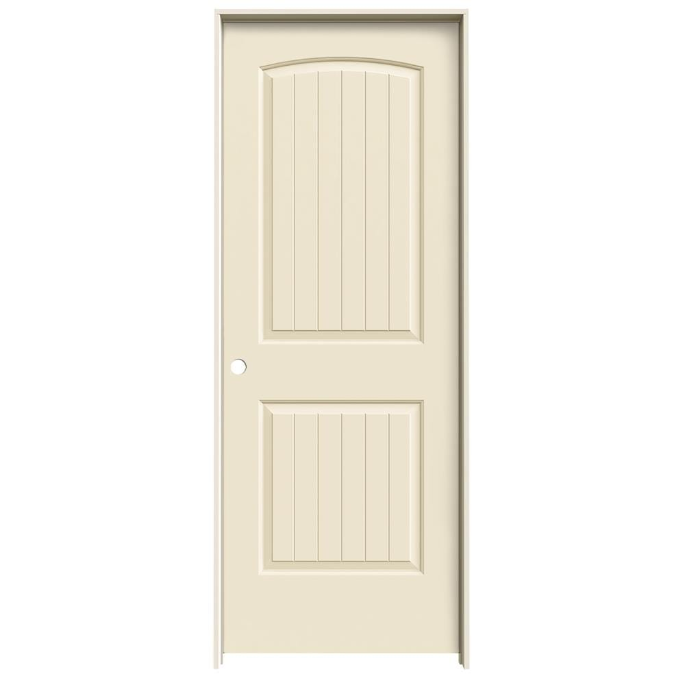 JELD-WEN Cream-N-Sugar Prehung Hollow Core 2-Panel Round Top Plank Interior Door (Common: 28-in x 80-in; Actual: 29.562-in x 81.688-in)
