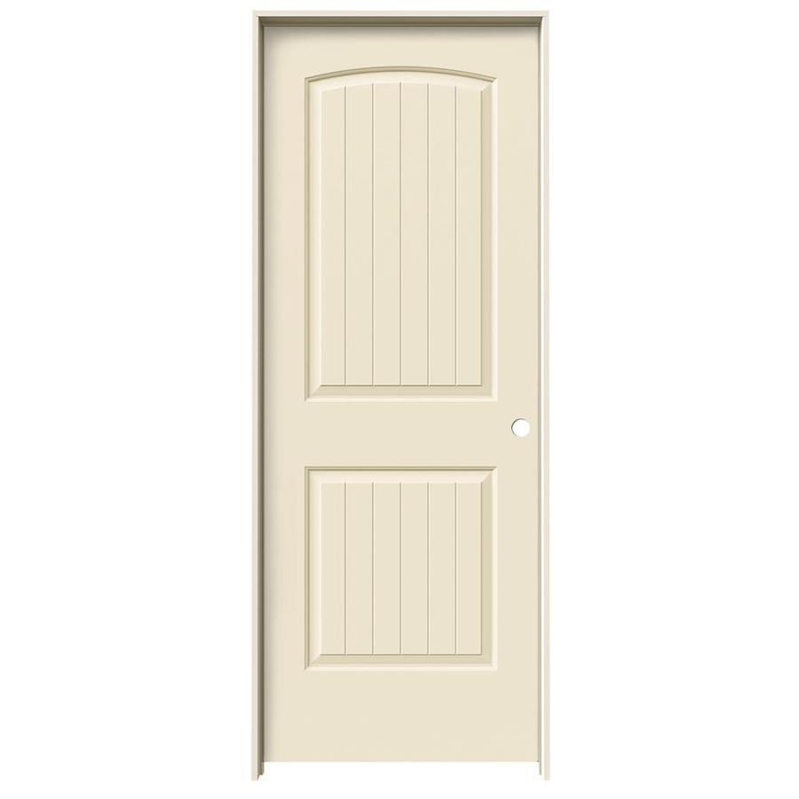 JELD-WEN Santa Fe Cream-N-Sugar Prehung Hollow Core 2-Panel Round Top Plank Interior Door (Common: 30-in x 80-in; Actual: 31.562-in x 81.688-in)
