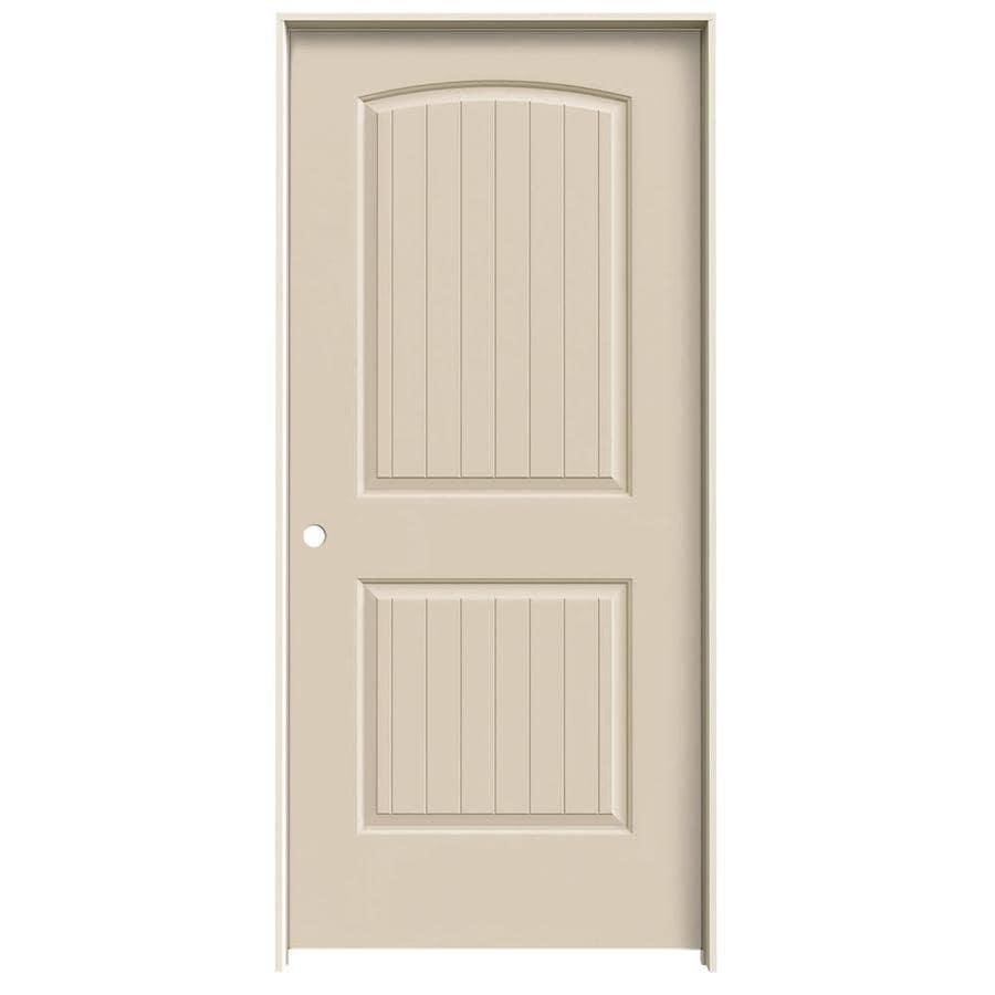 JELD-WEN Santa Fe Cream-N-Sugar Prehung Hollow Core 2-Panel Round Top Plank Interior Door (Common: 36-in x 80-in; Actual: 37.562-in x 81.688-in)