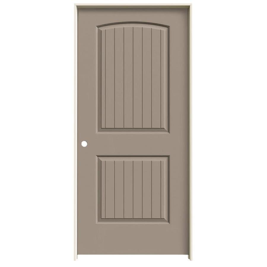 JELD-WEN Santa Fe Sand Piper Prehung Hollow Core 2-Panel Round Top Plank Interior Door (Common: 36-in x 80-in; Actual: 37.562-in x 81.688-in)