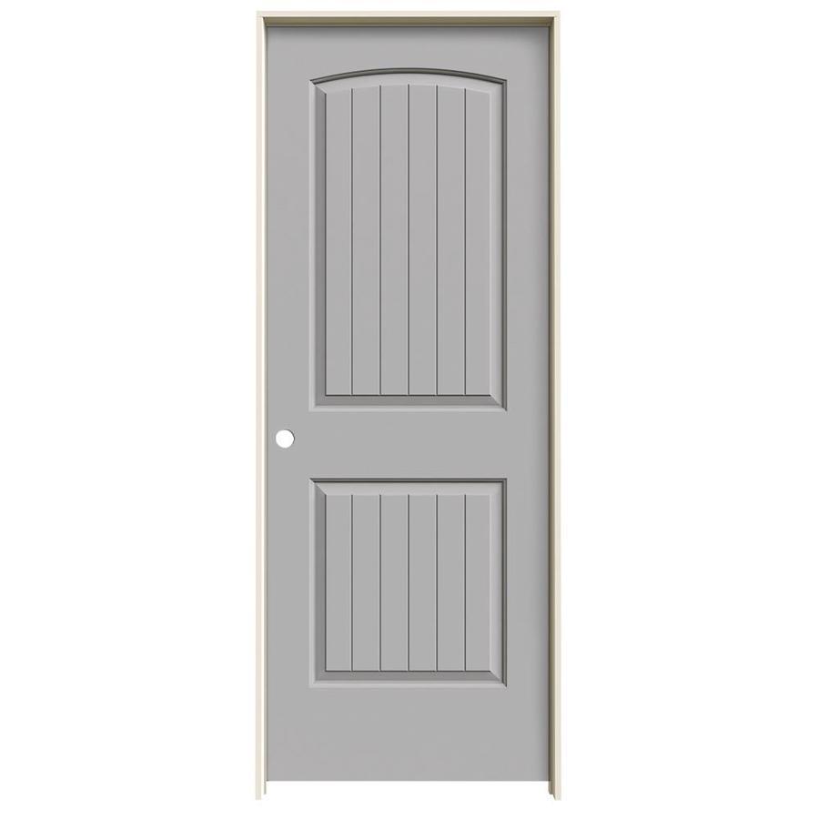 JELD-WEN Santa Fe Driftwood Prehung Hollow Core 2-Panel Round Top Plank Interior Door (Common: 24-in x 80-in; Actual: 25.562-in x 81.688-in)