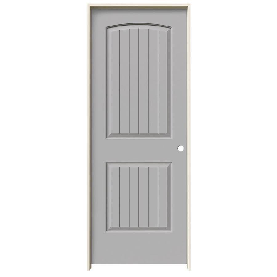 JELD-WEN Santa Fe Driftwood 2-panel Round Top Plank Single Prehung Interior Door (Common: 24-in x 80-in; Actual: 25.562-in x 81.688-in)