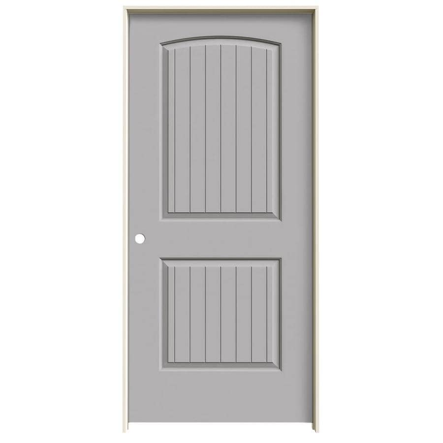 JELD-WEN Santa Fe Driftwood Prehung Hollow Core 2-Panel Round Top Plank Interior Door (Common: 36-in x 80-in; Actual: 37.562-in x 81.688-in)