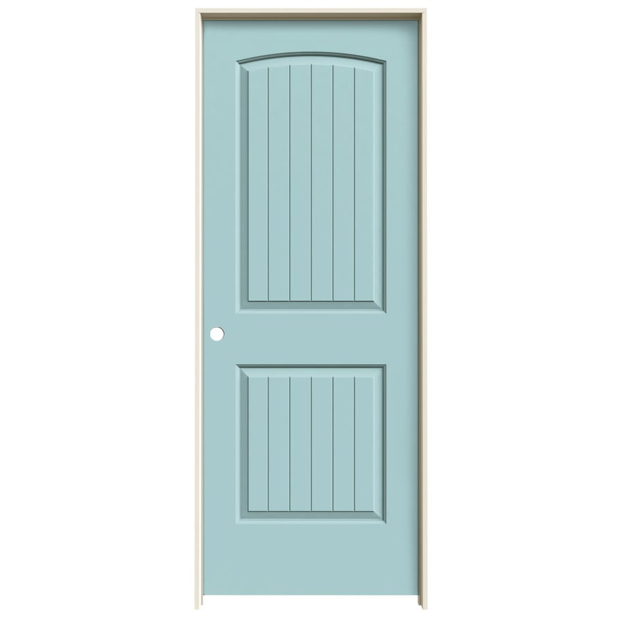 JELD-WEN Sea Mist 2-panel Round Top Plank Single Prehung Interior Door (Common: 30-in x 80-in; Actual: 31.562-in x 81.688-in)