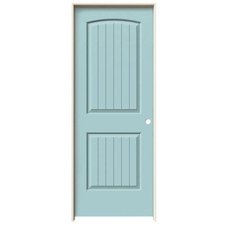 JELD-WEN Sea Mist 2-panel Round Top Plank Single Prehung Interior Door (Common: 32-in x 80-in; Actual: 33.562-in x 81.688-in)