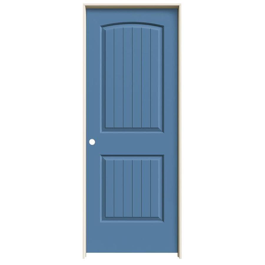 JELD-WEN Blue Heron 2-panel Round Top Plank Single Prehung Interior Door (Common: 24-in x 80-in; Actual: 25.562-in x 81.688-in)