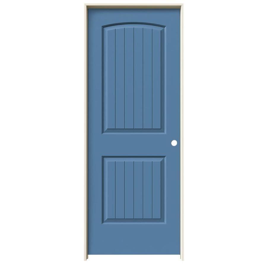 JELD-WEN Blue Heron Prehung Hollow Core 2-Panel Round Top Plank Interior Door (Common: 30-in x 80-in; Actual: 31.562-in x 81.688-in)