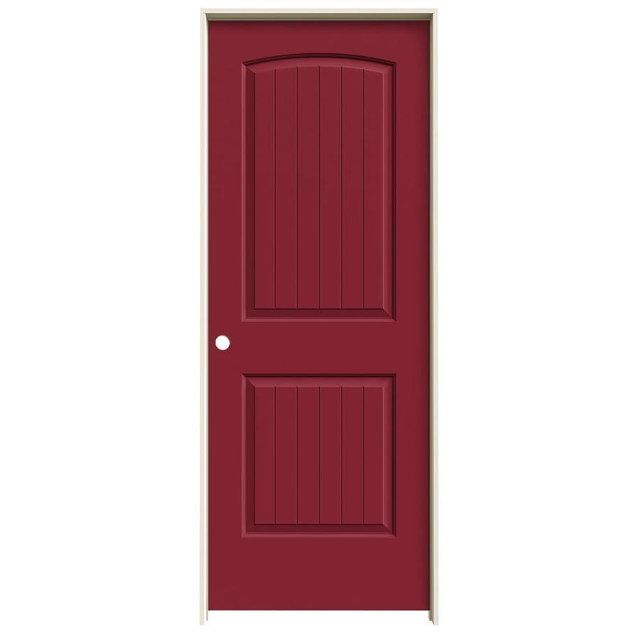 JELD-WEN Barn Red Prehung Hollow Core 2-Panel Round Top Plank Interior Door (Common: 30-in x 80-in; Actual: 31.562-in x 81.688-in)
