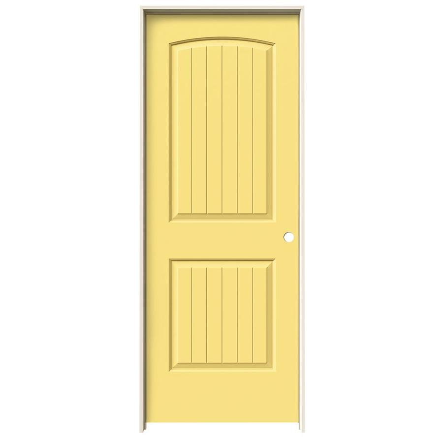 JELD-WEN Marigold 2-panel Round Top Plank Single Prehung Interior Door (Common: 32-in x 80-in; Actual: 33.562-in x 81.688-in)