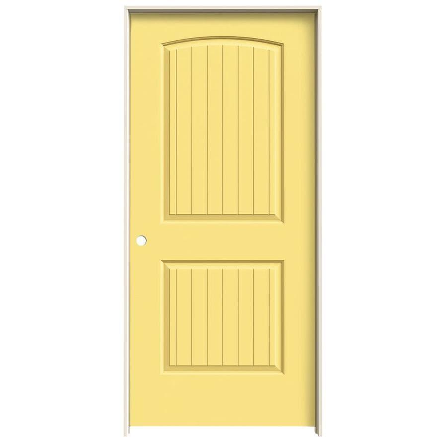 JELD-WEN Marigold Prehung Hollow Core 2-Panel Round Top Plank Interior Door (Common: 36-in x 80-in; Actual: 37.562-in x 81.688-in)