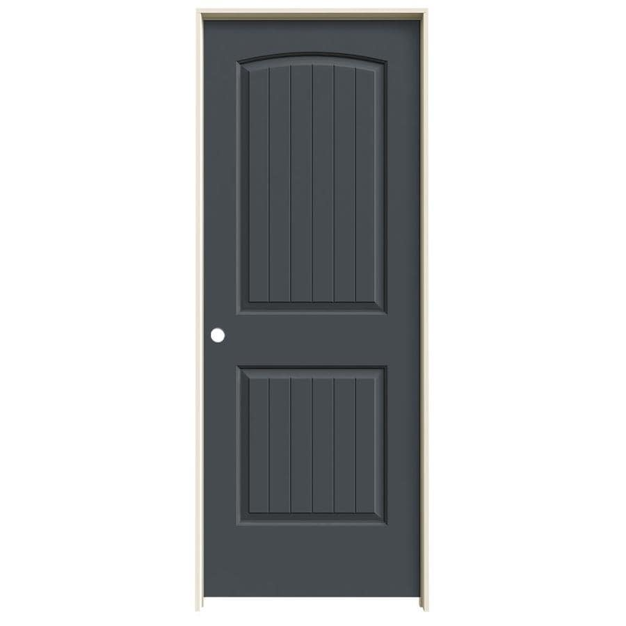 JELD-WEN Slate Prehung Hollow Core 2-Panel Round Top Plank Interior Door (Common: 24-in x 80-in; Actual: 25.562-in x 81.688-in)