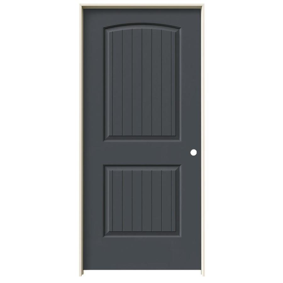 JELD-WEN Slate Prehung Hollow Core 2-Panel Round Top Plank Interior Door (Actual: 81.688-in x 37.562-in)