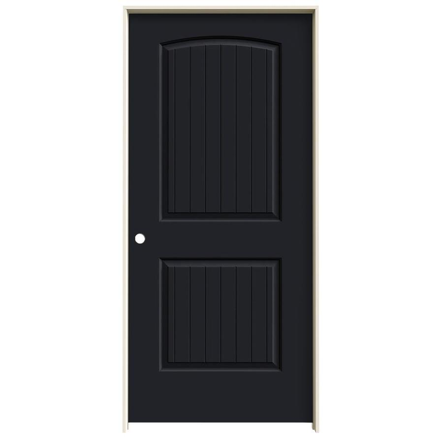 JELD-WEN Midnight Prehung Hollow Core 2-Panel Round Top Plank Interior Door (Common: 36-in x 80-in; Actual: 37.562-in x 81.688-in)