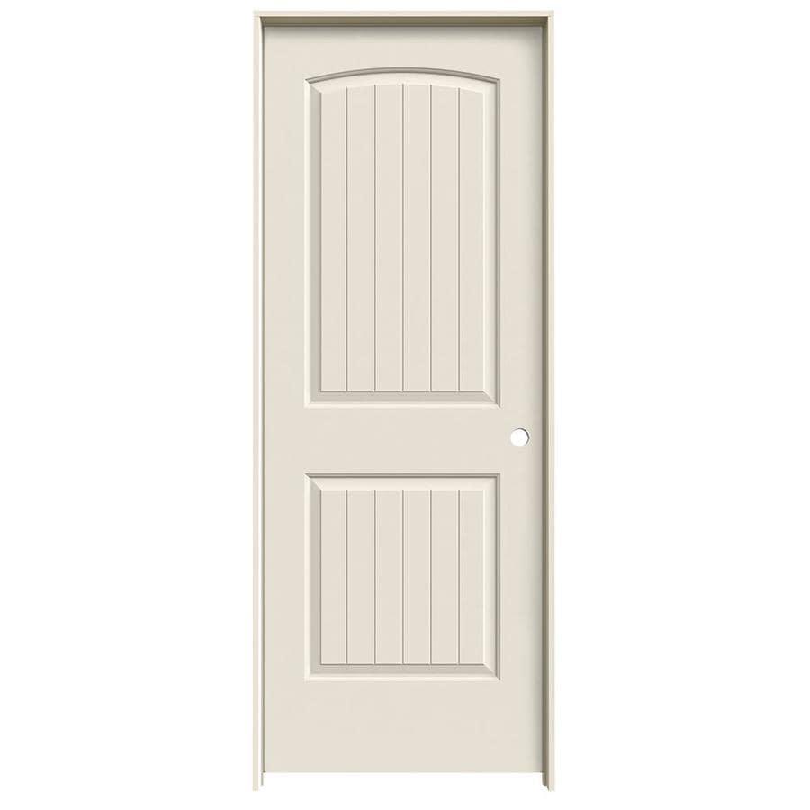 JELD-WEN Prehung Hollow Core 2-Panel Round Top Plank Interior Door (Common: 28-in x 80-in; Actual: 29.562-in x 81.688-in)