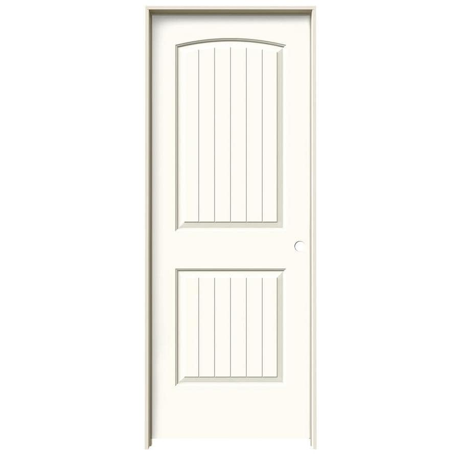 JELD-WEN White Prehung Solid Core 2-Panel Round Top Plank Interior Door (Common: 24-in x 80-in; Actual: 25.562-in x 81.688-in)