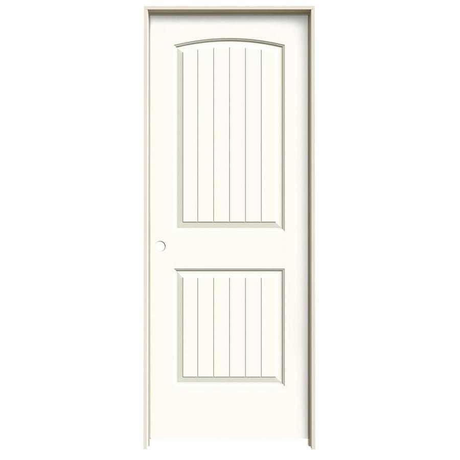 Jeld wen santa fe white 2 panel round top plank solid core - Mobile home interior doors lowes ...