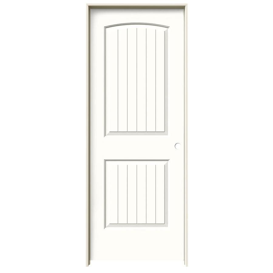 JELD-WEN Snow Storm Prehung Solid Core 2-Panel Round Top Plank Interior Door (Common: 28-in x 80-in; Actual: 29.562-in x 81.688-in)