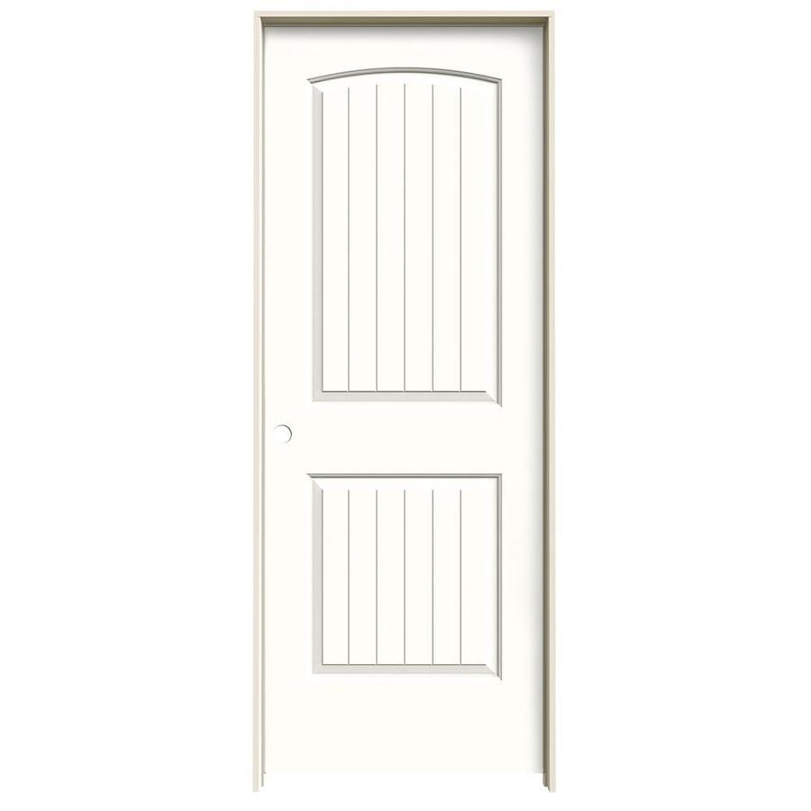 Shop jeld wen snow storm 2 panel round top plank single for Prehung interior doors