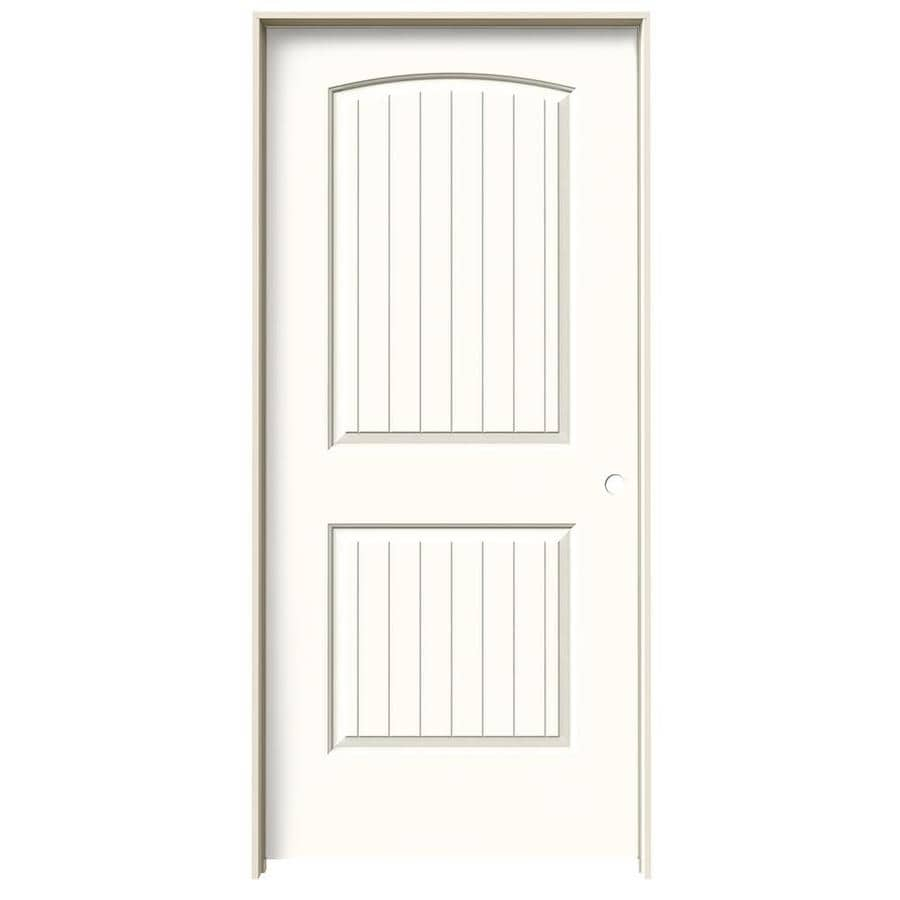 JELD-WEN Moonglow Prehung Solid Core 2-Panel Round Top Plank Interior Door (Common: 36-in x 80-in; Actual: 37.562-in x 81.688-in)